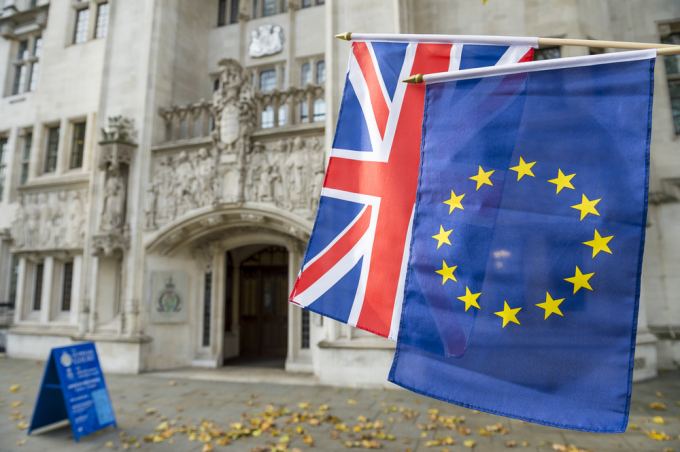 Supreme court with Union Jack and flag of Europe