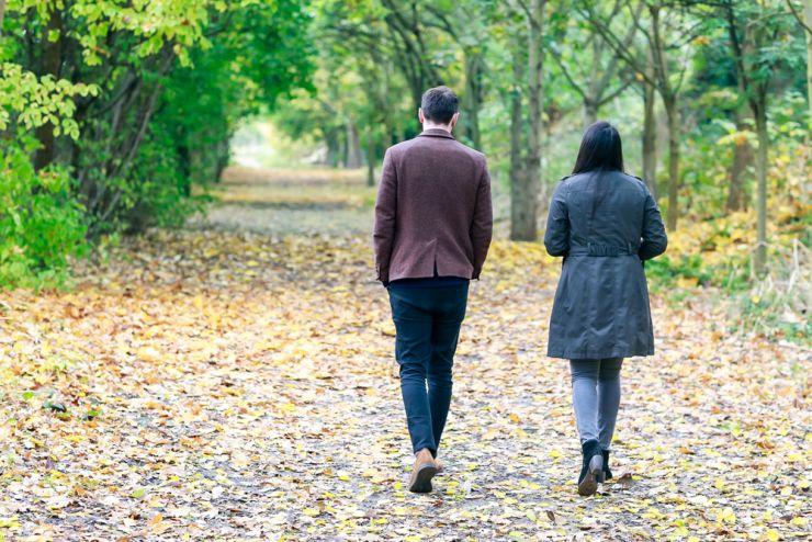 Separating couple walking together