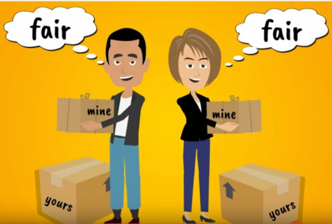 Couple holding boxes labelled mine and yours thinking fair
