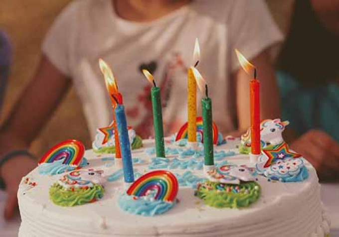 Child with birthday cake and candles