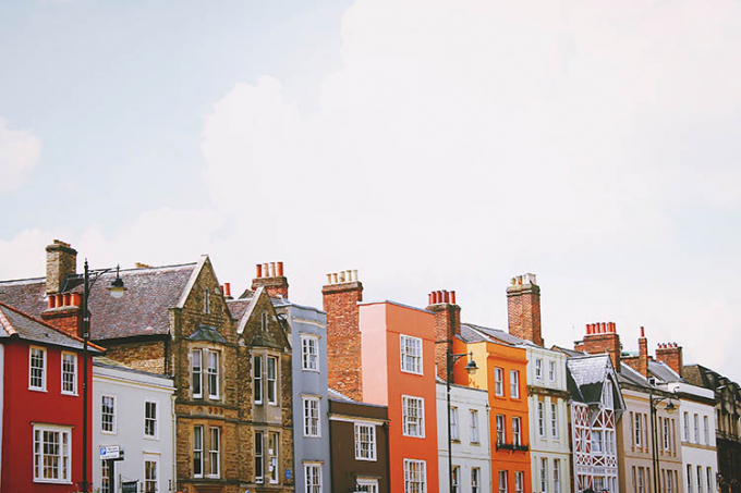 Row of multicoloured houses