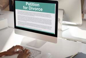 Computer screen with divorce petition on it