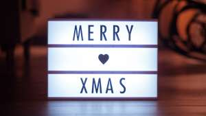Light up box saying Merry Xmas