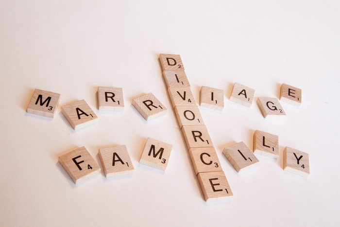 Scrabble letters spelling out divorce, marriage and family
