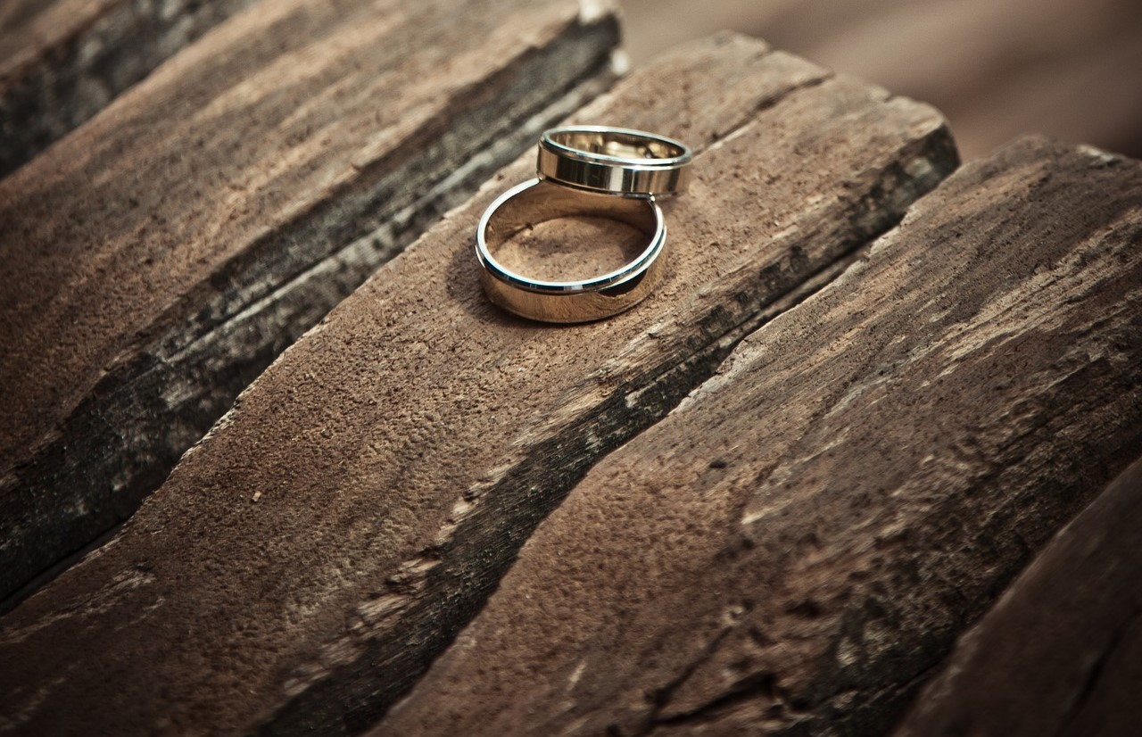 Two rings on wood