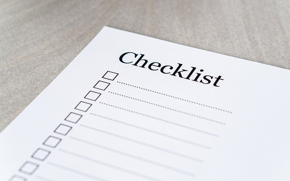Checklist with tick boxes