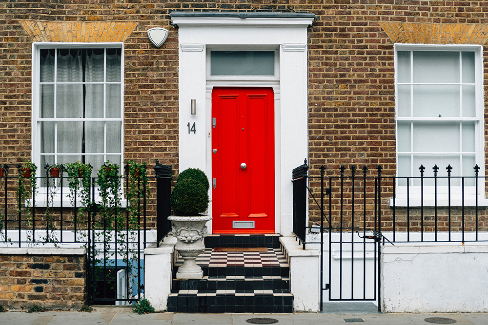 House with bright red front door